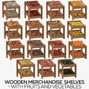 wooden merchandise shelves fruits model