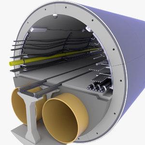 concrete tunnel technical 3D model