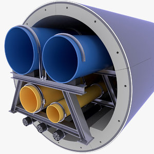 concrete tunnel pipe technical 3D