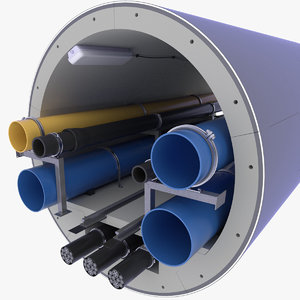 concrete tunnel pipe technical 3D model