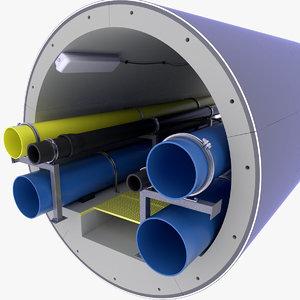 concrete tunnel pipe technical model