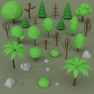 tree rock flower model