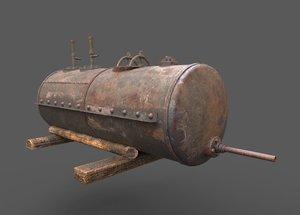 3D model old rusty tank