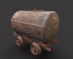 3D model old rusty oil tank