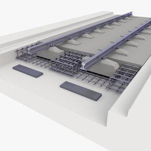 track rail railway 3D model