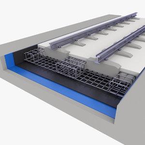 3D model track rail railway