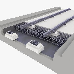 3D track rail railway model