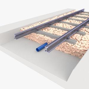 track rail railway 3D