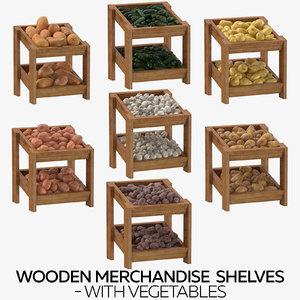 3D wooden merchandise shelves vegetables