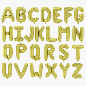3D balloon gold alphabet model