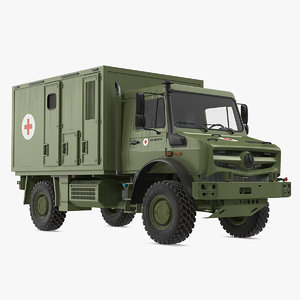3D model mercedes unimog 4023 ambulance vehicle