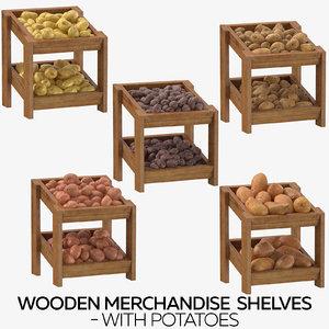 wooden merchandise shelves - model