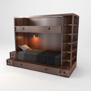 modern wooden bunk bed 3D model