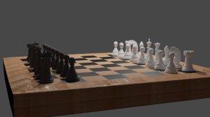 3D chess chessboard board model
