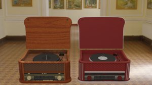 3D vintage record player radio model