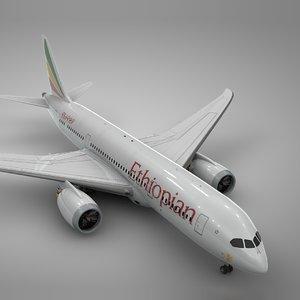 3D boeing 787 dreamliner ethiopian model