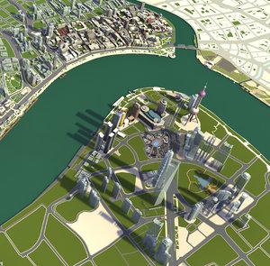 3D city architectural cityscape model