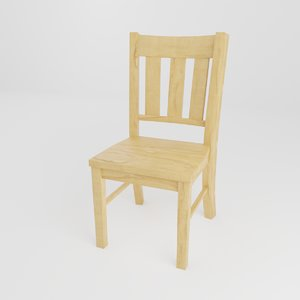 simple wooden chair 3D