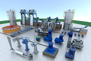3D plant industrial zone chemical