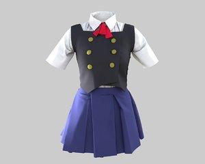 girl japanese costume 3D