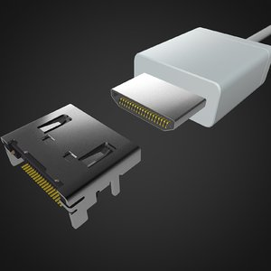 mini hdmi connector 3D