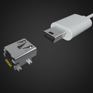3D connector mini usb model