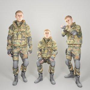3D soldier bundeswehr uniform animation