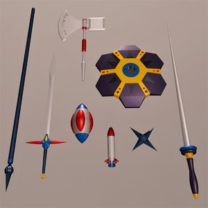 weapon set gordian axe 3D