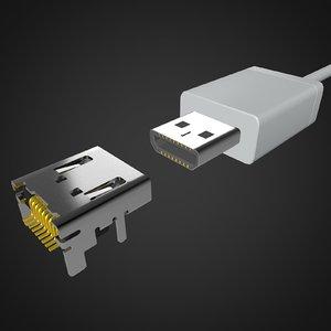 3D micro hdmi connector