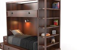 modern wooden bed 3D model