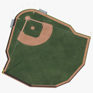 3D model baseball field brick wall
