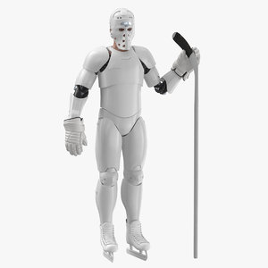 hummanoid hockey player white 3D model