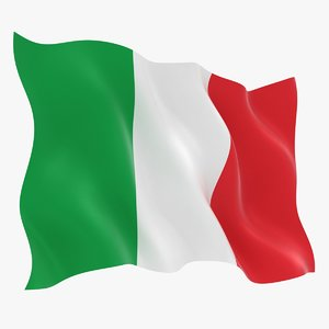realistic italy flag 3D model