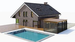 large cottage pool 3D