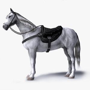 white horse saddle 3D model