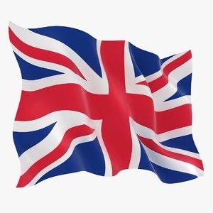 realistic united kingdom flag model