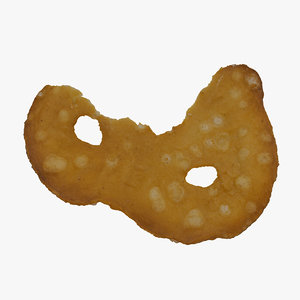 3D sea salt pretzel cracker model