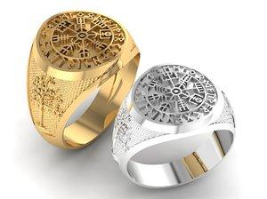 3D gents ring icelandic compass model