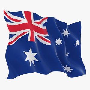 3D model realistic australia flag