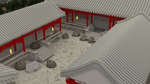 chinese ancient courtyard house 3D model