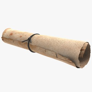 3D model parchment roll paper