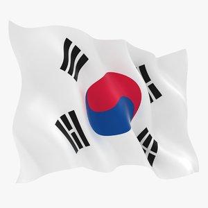 realistic south korea flag 3D model