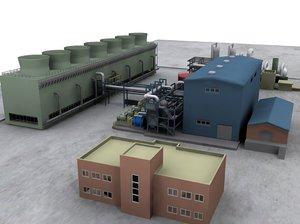 geothermal plant 3d model