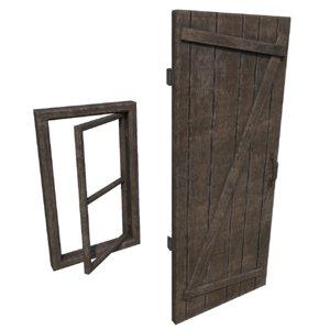 3D model medieval door window