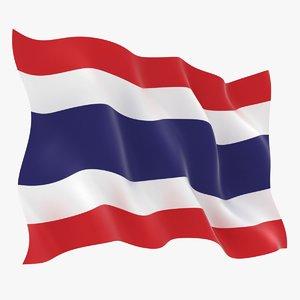 3D realistic thailand flag