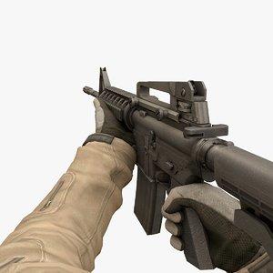 3D rigged gun animate