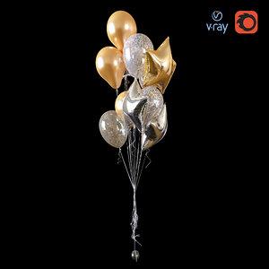 3D model helium balloons