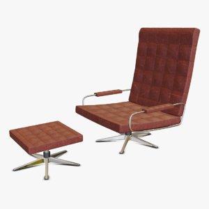 3D retro armchair seat leather