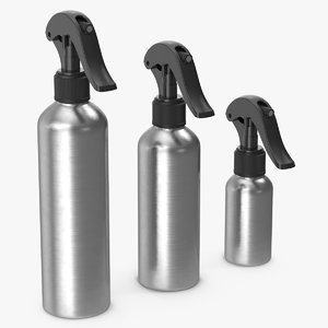 3D model spray bottles aluminum black