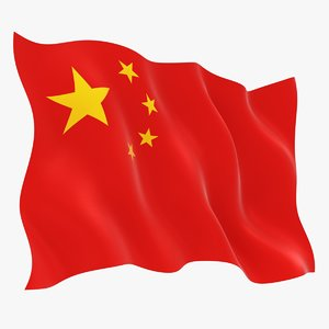 realistic china flag 3D model